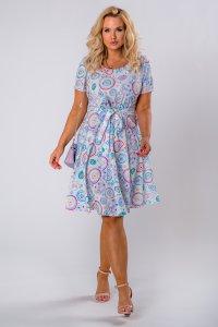 rozkloszowana sukienka z krótkim rękawem